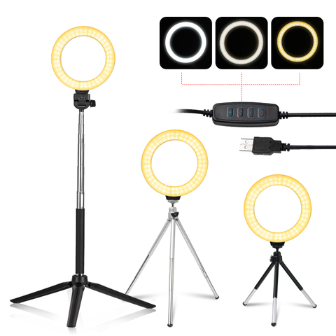 """6"""" Stepless Dimmable LED Selfie Ring Light for Make Up Camera Youtube Video Continuous Lighting Photo Studio Live Beauty Light Pakistan"""
