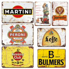 Old Beer Club Wall Decorative Metal Plate Vintage Martini Poster Tin Sign For Pub Bar Decor Iron Painting Man Cave Kitchen Signs