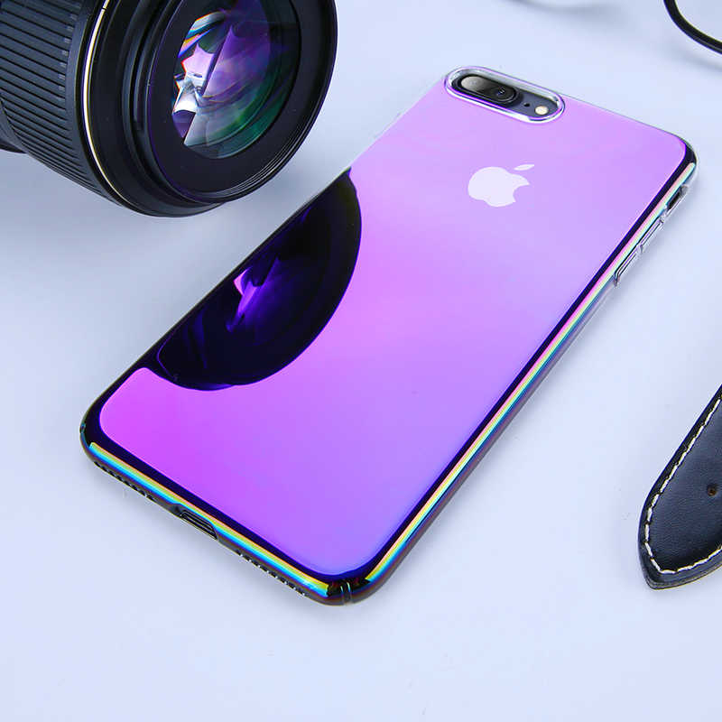 Aurora Blue Ray Phone Case For iPhone X XR XS Max Luxury Gradient Ultra Thin Plastic Cover For iPhone 6 6S 7 8 Plus Phone Case