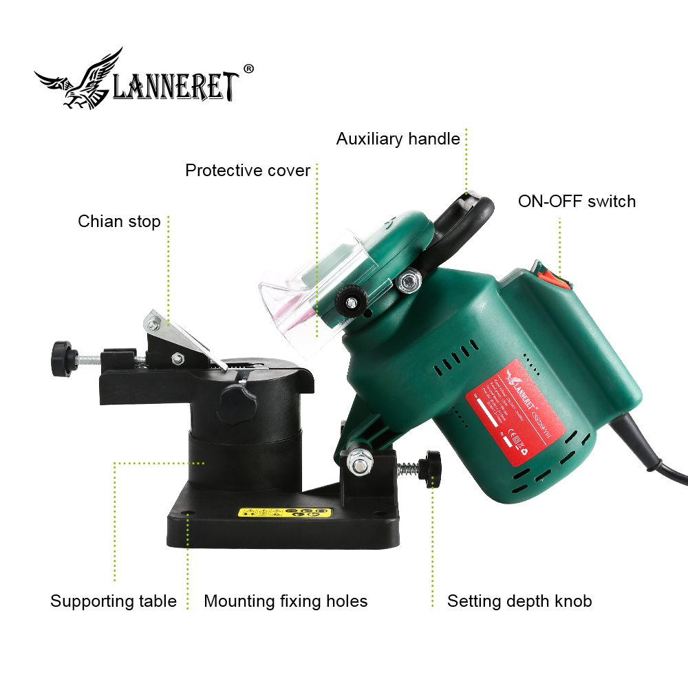 """Image 3 - LANNERET 220W 100mm 4"""" Inches Power Chain Saw Sharpener Grinder Machine Garden Tools Portable Electric Chainsaw Sharpener-in Grinders from Tools on"""