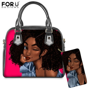 FORUDESIGNS Brand Luxury Design Handbags Women Black Art African/Afro Girl Print Lady Hand Bag Wallet 2Set Female Top-Handle Bag(China)