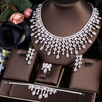 AccKing 4pcs Bridal Zirconia Full Jewelry Sets For Women Party, Luxury Dubai Nigeria CZ Crystal Wedding necklace sets