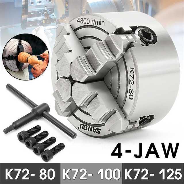 K72-80/K72-100/K72-125 4 mandril de torno independiente 80mm/100mm/125mm autocentrado 1 Uds llave de Portabrocas de seguridad 3 uds perno de montaje