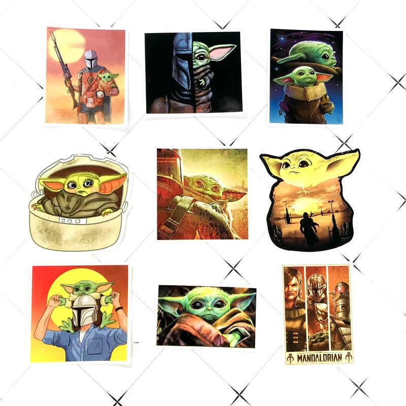 50 pçs yoda bebê dos desenhos animados graffiti adesivos portátil tablet mala de água copo impermeável pvc yoda mandalor adesivo decorativo