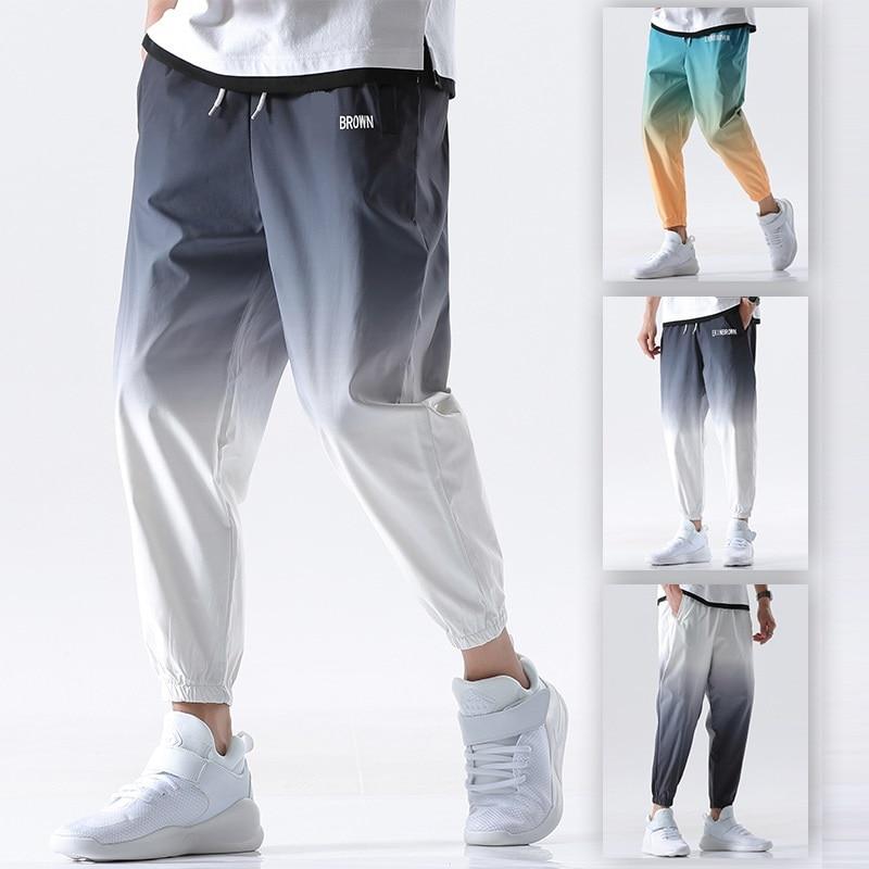 Мужские брюки для бега, уличная одежда, свободные брюки длиной до щиколотки, эластичная резинка на талии, Новинка лета 2020, мужские повседнев...