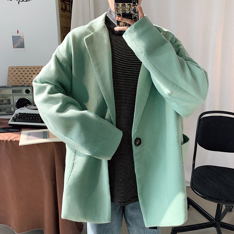 Winter Short Plus Cotton Woolen Coat Men's Fashion Solid Color Casual Woolen Jacket Men Loose British Style Woolen Coat Mens
