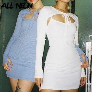 ALLNeon Y2K Fashion solidne prążkowane okładki i sukienki na ramiączkach e-girl słodki bandaż z długim rękawem Bodycon Mini sukienka jesień biały Vestido