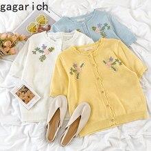Gagarich mulher cardigan ins verão nova doce doce menina floral bordado o pescoço único breasted versátil curto knitte camisa