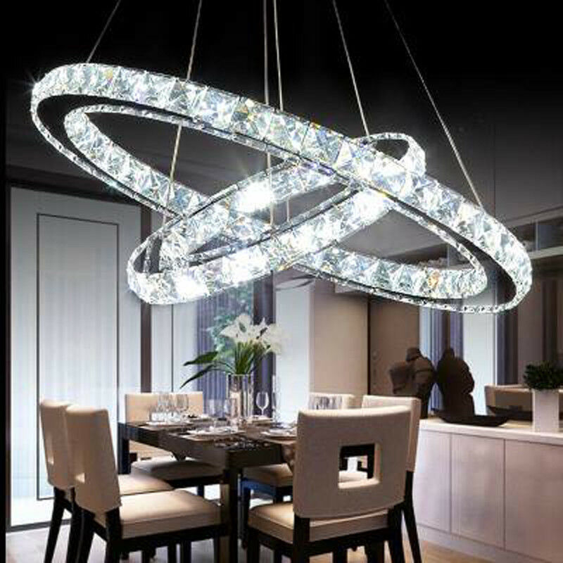 Yonntech 36W Modern Crystal Pendant Lamp Ceiling Lighting With 2 LED Ring Lights Chandelier