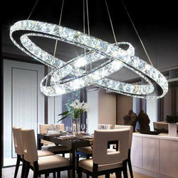 Yonntech 36W Moderne Kristall Anhänger Lampe Decke Beleuchtung mit 2 LED Ring Lichter Kronleuchter