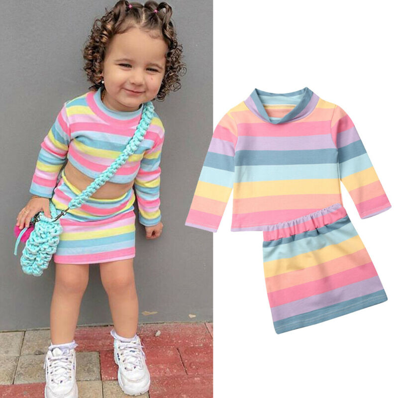 2PCS Toddler Kids Baby Girl Color Stripe T-shirt Tops+Skirt Dress Outfit Clothes