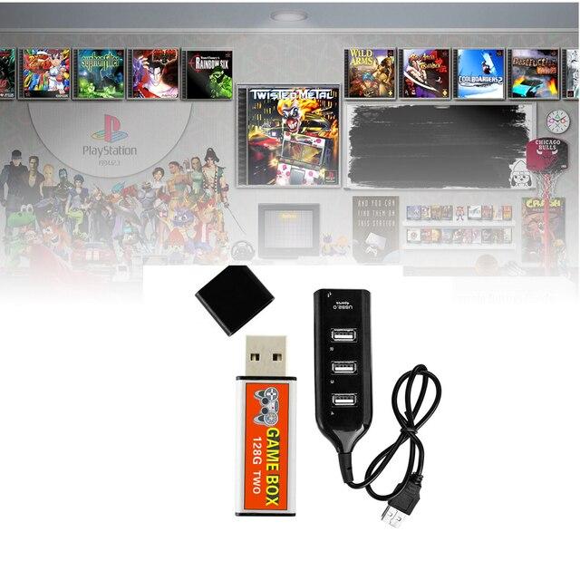 Enchufe de expansión de 128G, doble juego, simulador de código abierto, potenciador de juego, pieza de repuesto para niños con Hub portátil para PS1 MINI