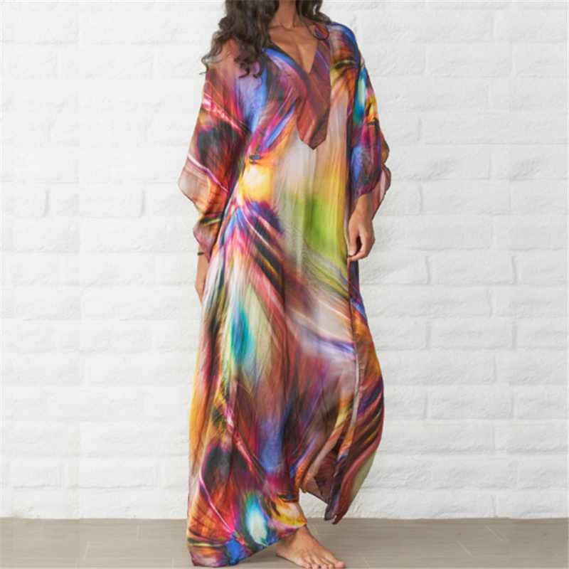 Cepat Kering Kaftan Beach Cover Up Pareos De Playa Mujer 2020 Pantai Kebesaran Bikini Cover Up Jubah Plage beach Tunik Q831