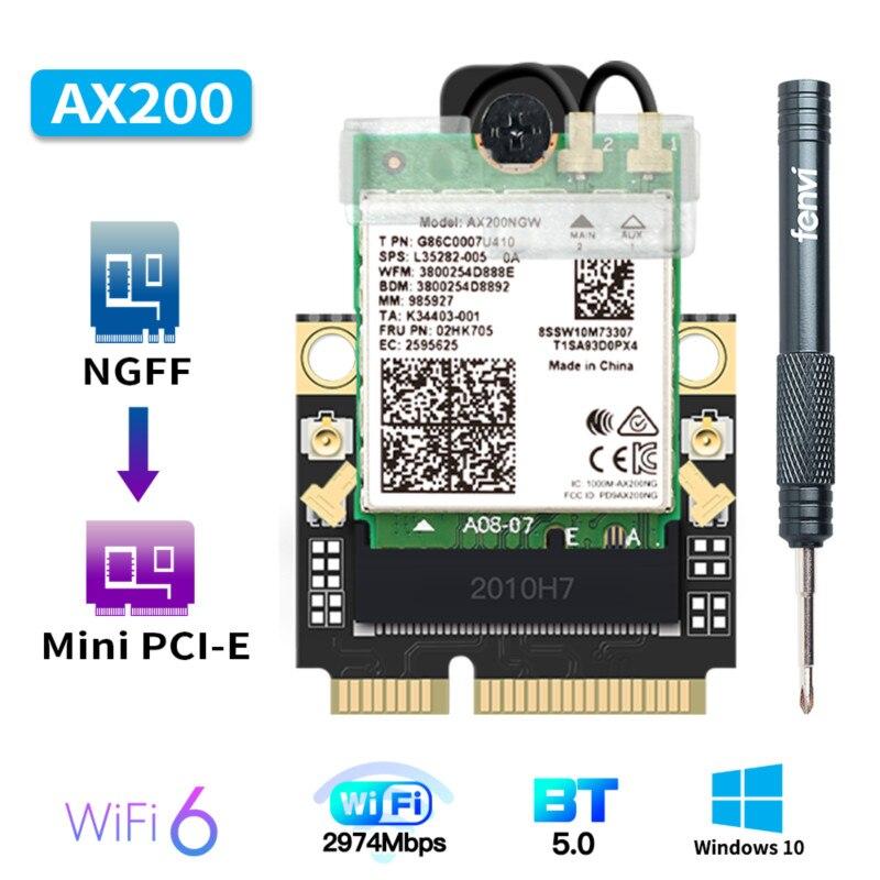 2974Mbps Mini PCI-E Wi-Fi 6 Adapter Wireless Bluetooth 5.1 Intel AX200 Wifi Card AX200NGW 802.11ax/ac 160Mhz 2.4G/5G Windows10(China)