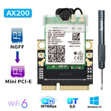 2974Mbps Mini PCI-E Wi-Fi 6 adaptörü kablosuz Bluetooth 5.1 Intel AX200 Wifi kartı AX200NGW/802 11ax/ac 160Mhz 2.4G/5G Windows10