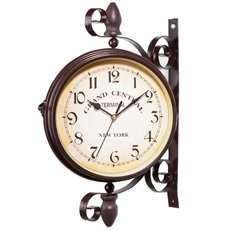 새로운 시계 유럽 복고풍 스타일의 시계 혁신적인 패션 양면 벽시계 벽시계 현대적인 디자인
