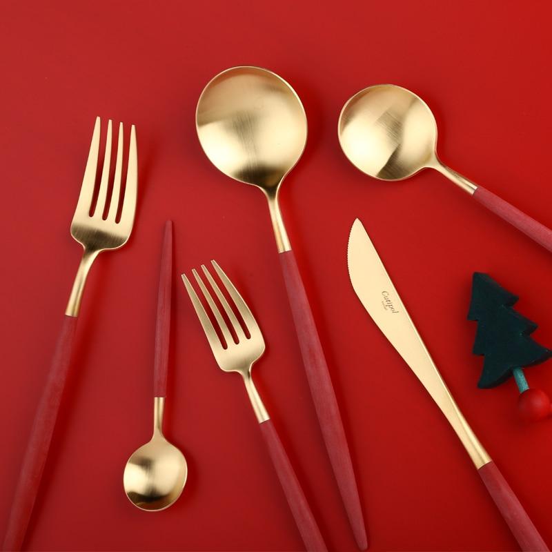 Nordique luxe rouge or vaisselle ensemble fourchettes couteaux cuillères vaisselle occidentale Royal couverts cuillère baguettes haute qualité 5CD12
