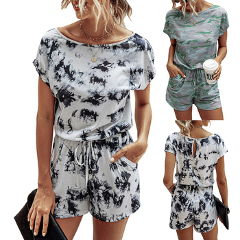 New Ladies S-XL Print Casual Playsuit Womens 2020 Short Sleeve O-Neck Summer Cool Jumpsuit Rompers For Women Q30