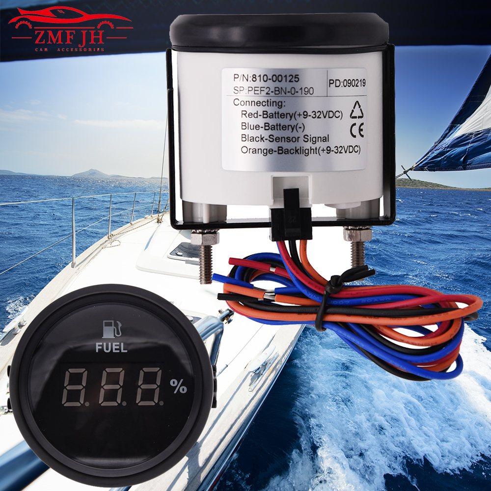 52mm Black Rim Water Temp Gauge W//Sensor for Marine Boat Yacht