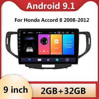 Pour Honda Accord 8 2008 2009 2010 2011 2012 autoradio multimédia lecteur vidéo Navigation GPS 9 pouces Android 9.1 2din 2 din dvd