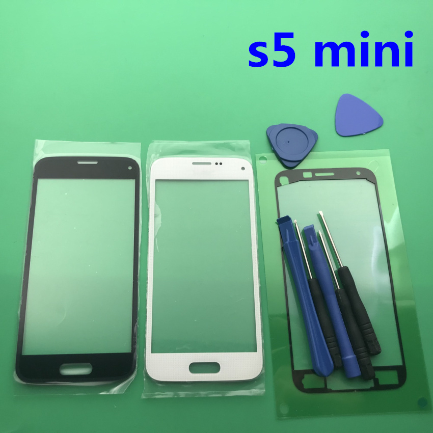 Black/white/blue s5mini Front Outer <font><b>Glass</b></font> Lens <font><b>replacement</b></font> for <font><b>Samsung</b></font> <font><b>Galaxy</b></font> <font><b>S5</b></font> mini g800 g800f LCD touch screen+Adhesive+Tools image