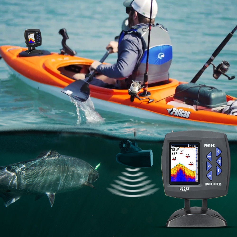 LUCKY FF918-180S Wired Fishfinder 540ft/180m Depth Sounder Fish Detector Monitor echo sounder for fishing from a boat 2