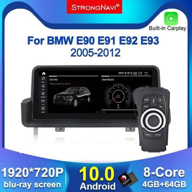 Ipsスクリーンアンドロイド 10.0 車のgpsラジオプレーヤーナビゲーションbmw E90 E91 E92 E93 3 シリーズ 4 4g lte wifi bt 4 ギガバイトのram 64 ギガバイトrom