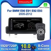Reproductor de radio con pantalla IPS para BMW, reproductor de GPS para coche con Android 10,0, navegación para BMW E90, E91, E92, E93, Serie 3, 4G LTE, wifi, BT, 4GB de RAM, 64GB de ROM