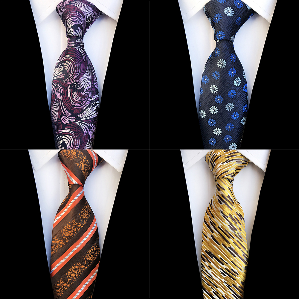 Ricnais New Design Floral Paisley Silk Tie For Men Striped Blue Green Necktie For Wedding Fashion Gradient 8cm Tie Suit Party