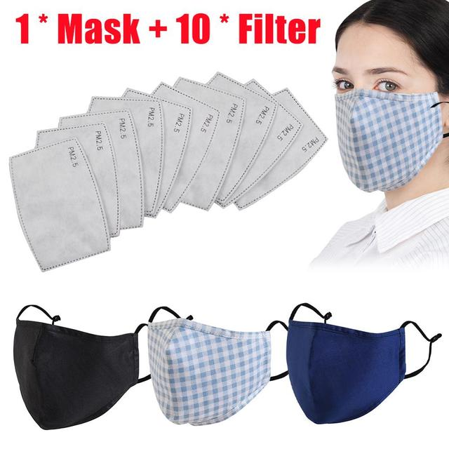 Cotton Mouth Mask Anti Dust Mask Activated Carbon Filter Windproof Mouth-muffle Bacteria Proof Flu Masks Care(free 10pc filtre)