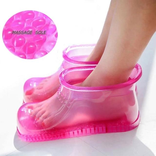 1 par de pé banho massagem botas relaxamento tornozelo embeber banho terapia massageador sapatos acupoint sola portátil casa pés cuidados ferramentas