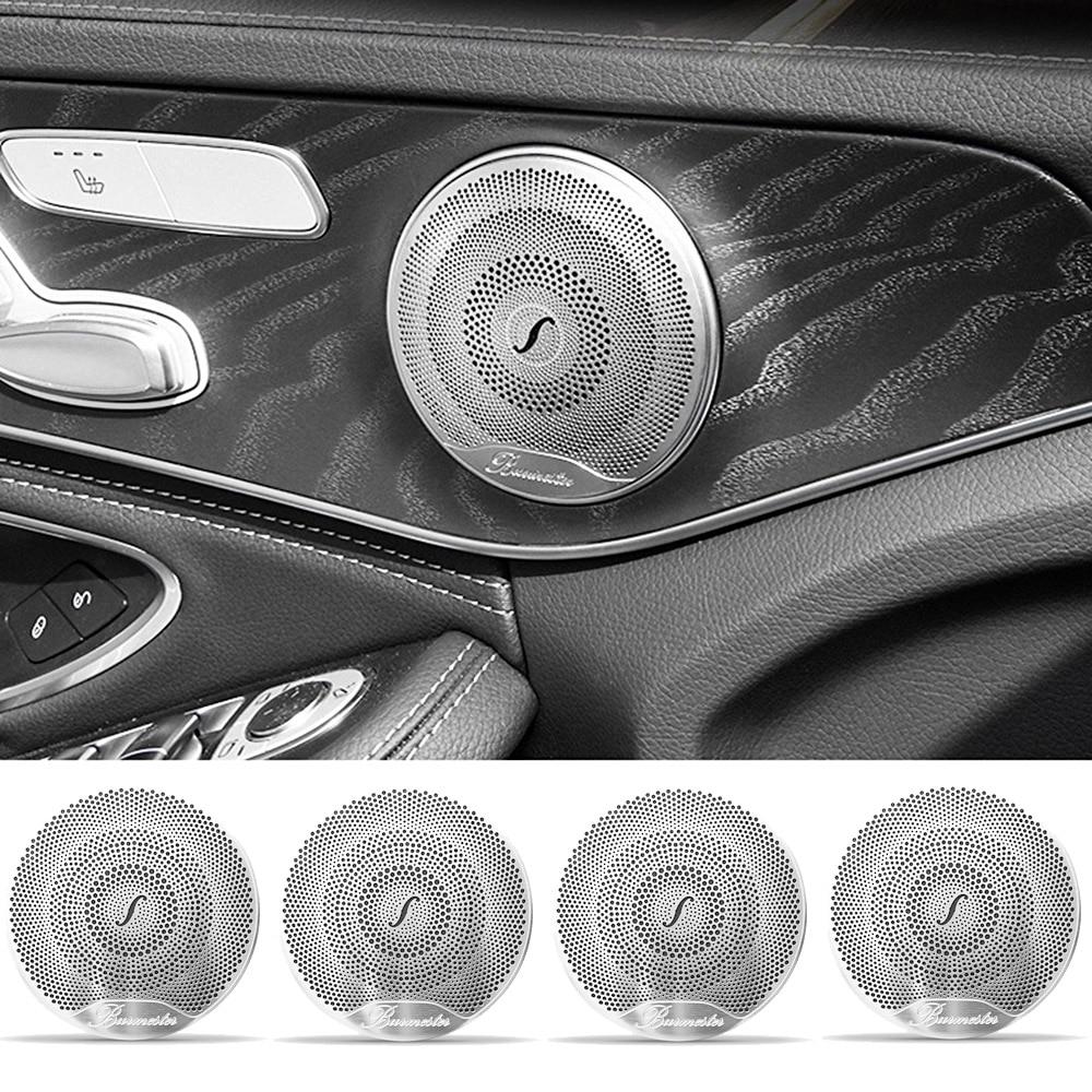 4pcs Car Door Audio Speaker Decor Cover Loudspeaker 3D Trim Sticker For Mercedes Benz AMG C E Class W205 W213 GLC Car Styling