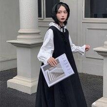 Shirt Lolita-Dress Plus-Size Round-Collar Harajuku Black Sweet-Girl Dark White Women