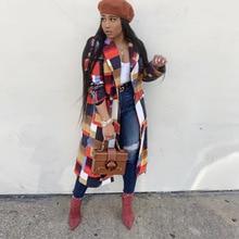 Echoine Winter Autumn Women Wool Coat Colorful Plaid Print Long Jacket Double Breasted Turn-down Elegant woolen Outwear