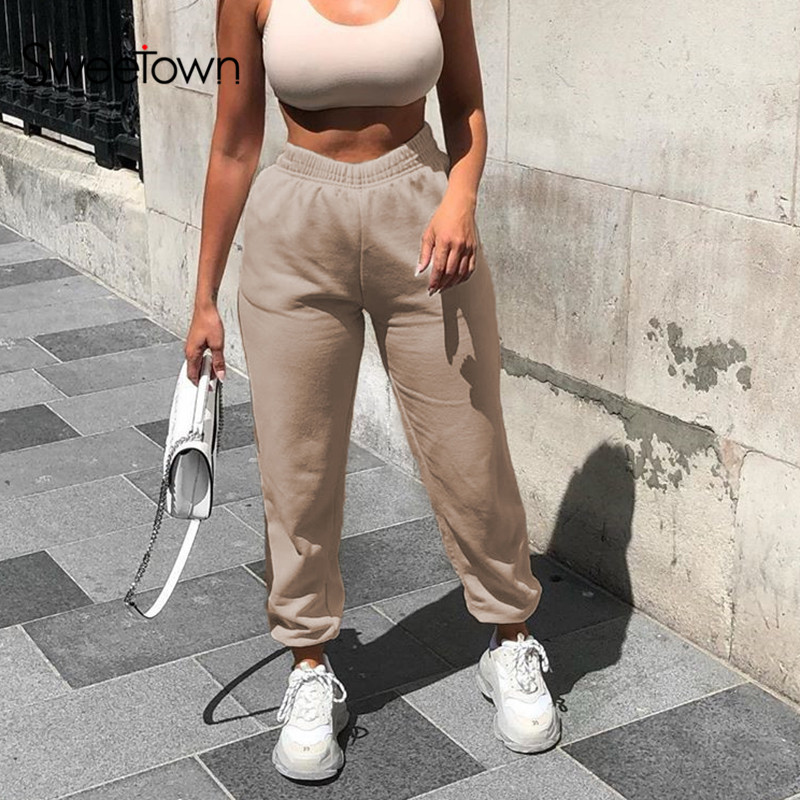 Sweetown Solid Casual Womens Jogger Sweatpants Elastic High Waist Running Harem Pants Female Streetwear Pantalones Hip Hop Mujer