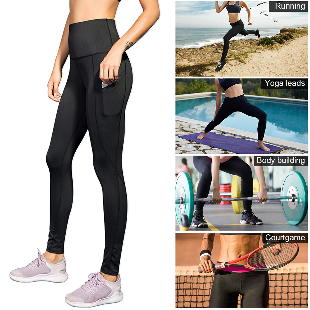Woman High Waist Yoga Pants Quick-dry Sports Pants Yoga Leggings Workout Pants with Pocket Light Blue XXL Running pants 14