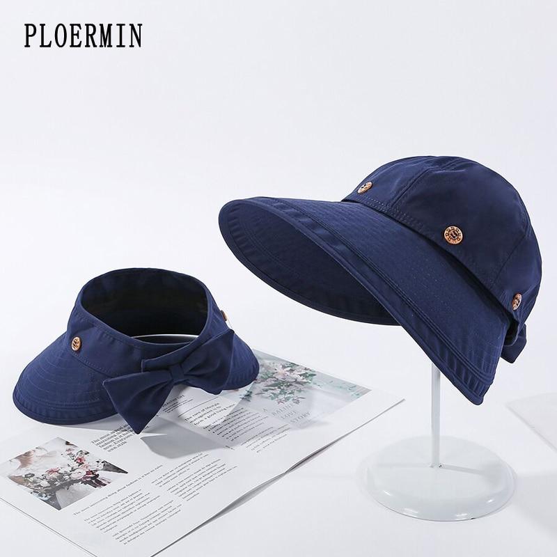 Women's Hats 2020 Summer Fashion Bowknot Cotton Sun Bonnet Visor Empty Top Hat Female Summer Fisherman's Hat Folding Beach Cap