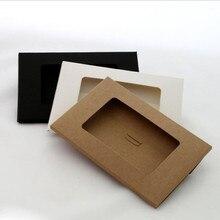 50 unids/lote de sobres de Papel Kraft de diseño hueco Vintage, negro/blanco/marrón, cajas de postales, tarjetas postales de felicitación, paquete de tarjetas postales