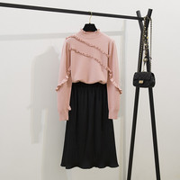 New Autumn Women Knitted Sweater 2 Piece Set Fashion Pink Ruffles Knitting Half Turtleneck Pulovers And Black Pleated Skirt Set