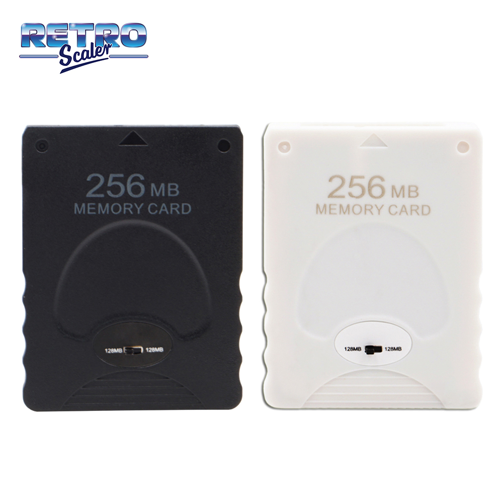 RetroScaler Black and White 256MB Empty Memory Card Save Game Data Stick Module for PlayStation 2 PS2