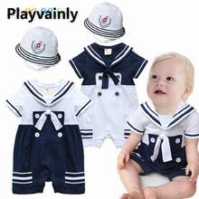 Wholesale Baby boy Summer Romper 2021 New Navy Style Short Sleeve Cotton Romper with hat Toddler Clothing E13611