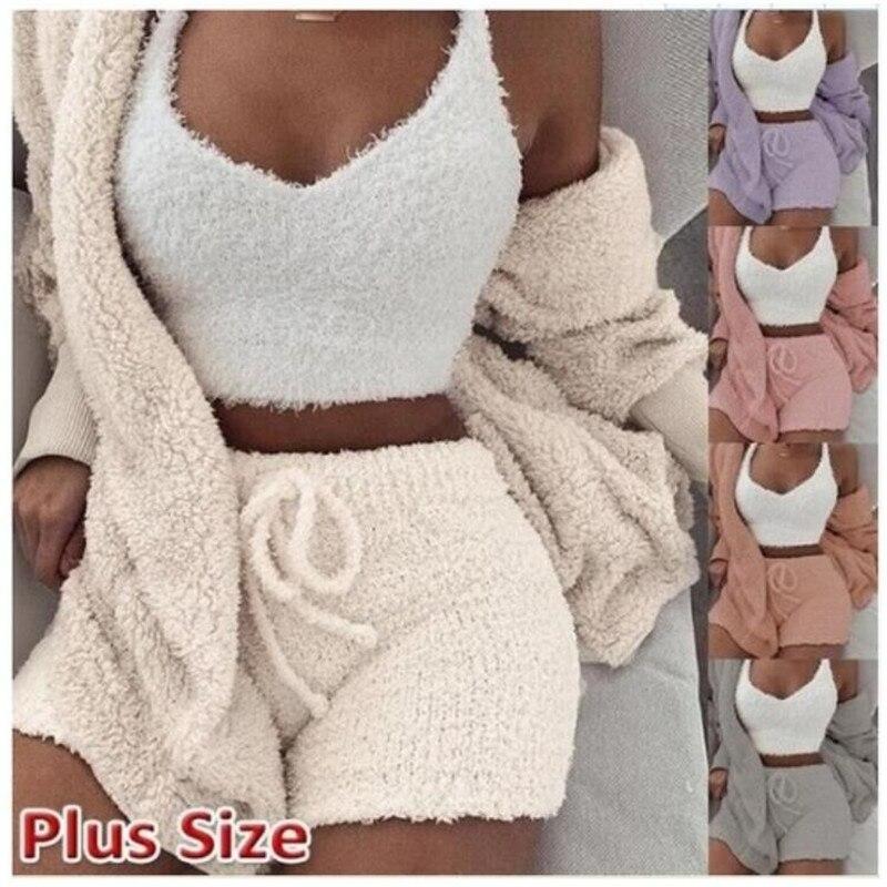 Women Coral Velvet Pajamas Set Spring Autumn Winter Pajamas 3 Three Piece Set Sleepwear Tops Shorts Coat Suit Size S-3XL
