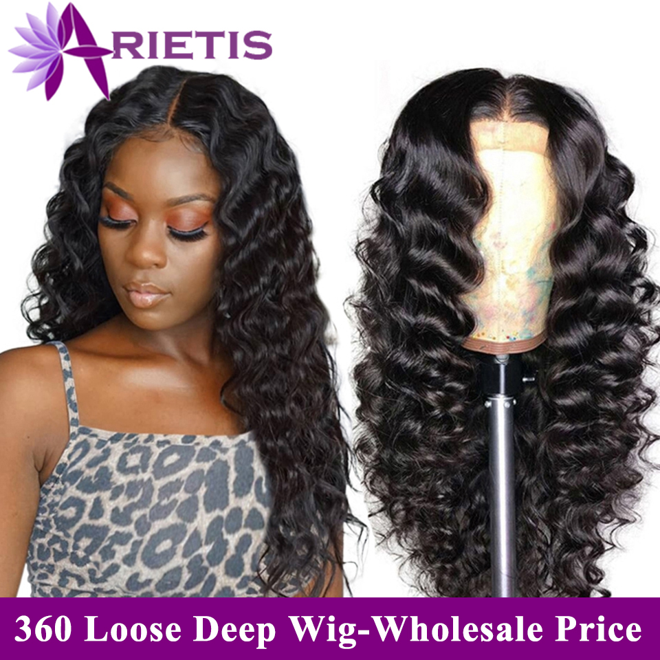 Arietis Hair Brazilian Glueless Loose Deep Wave Wig Pre-Plucked With Baby Hair 360 Lace Frontal Wig Remy Hair Lace Front Wig