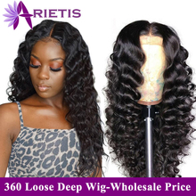 Arietis Hair Brazilian Glueless Loose Deep Wave Wig Pre-Plucked With Baby Hair 360 Lace Frontal Wig Remy Hair Lace Front Wig brazilian body wave wig pre plucked lace frontal wig remy hair wavy wig 150