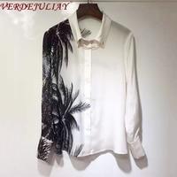 VERDEJULIAY 2020 Spring New Fashion High Street Style Coconut Tree Black Irregular Print Blouse Luxury Pure Silk Ivory Shirt