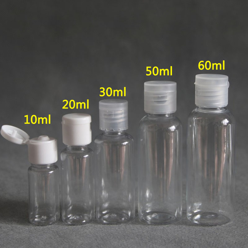 50pcs 5ml - 100ml Plastic PET Clear Flip Lid Lotion Bottles Cosmetic Shampoo Sample Containers Travel Liquid Refillable Vials