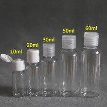 50pcs 5ml - 100ml Plastic PET Clear Flip Lid Lotion Bottles Cosmetic Shampoo Sample Containers Travel Liquid Refillable Vials