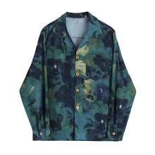 Женская рубашка из хлопка и принтом в стиле ретро размера плюс