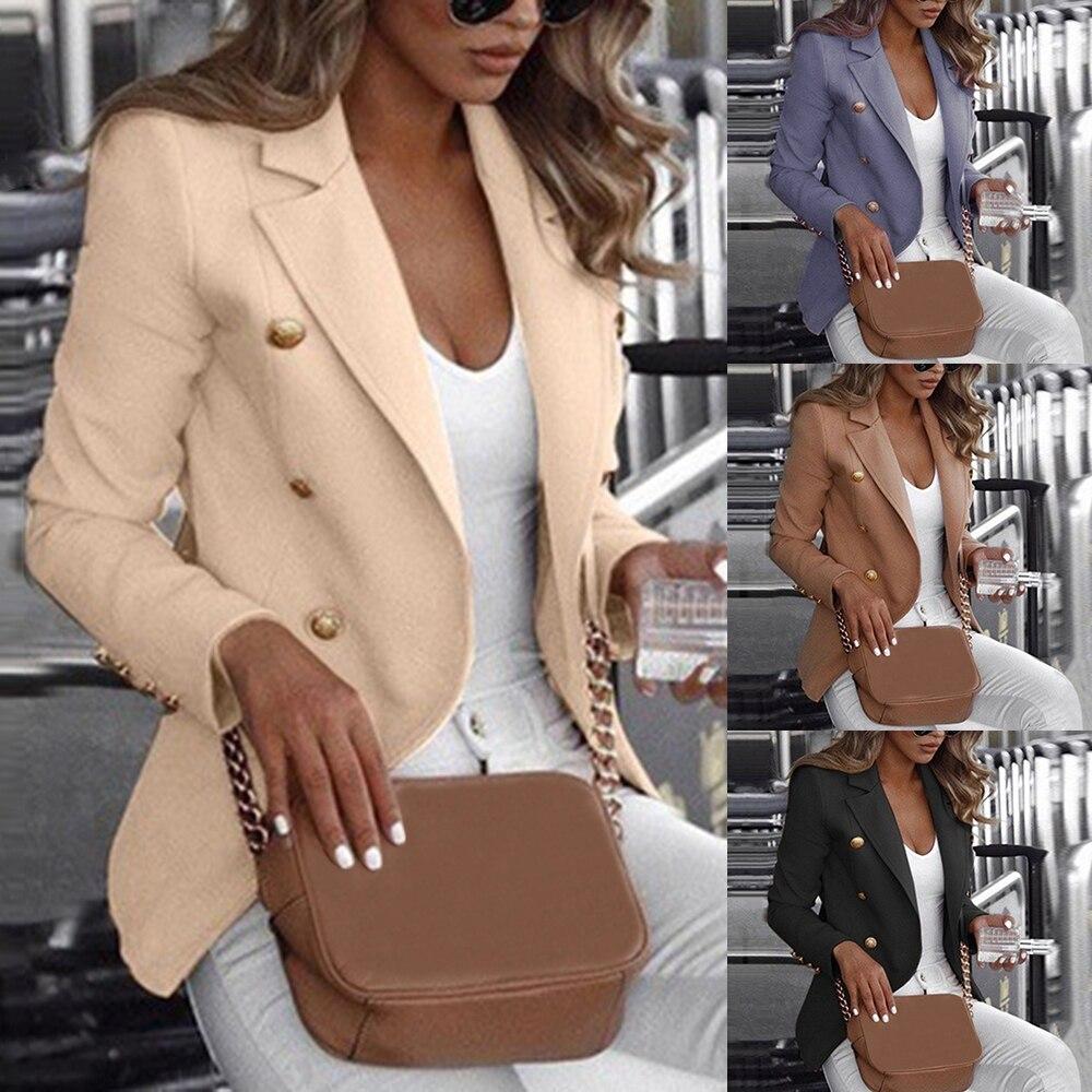 2019 New Women Vintage Blazer Jacket Causal Double Breasted Slim Suit Jacket Blazer Feminino Veste Femme Ladies Office Jacket