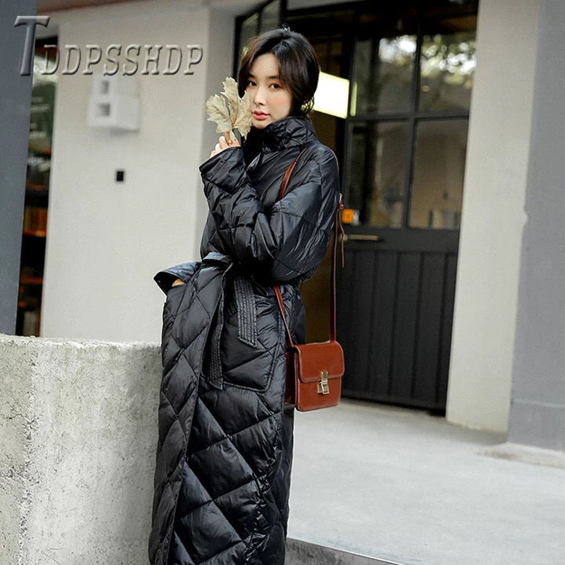 Woman Winter Coats Long Style Waist Strap Thick Coat Cotton Padded Female Parkas